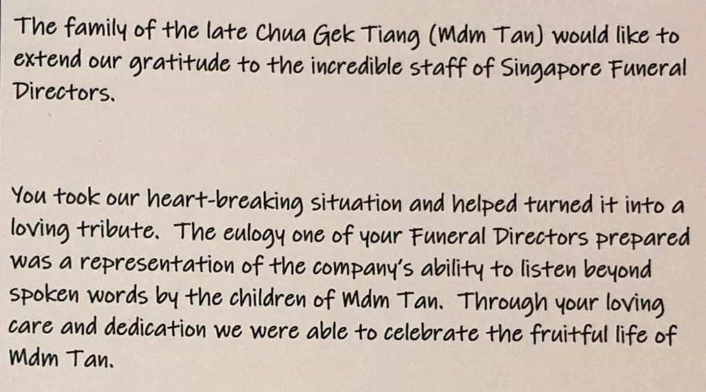 Testimonial Family of the late Mrs Chua Gek Tiang